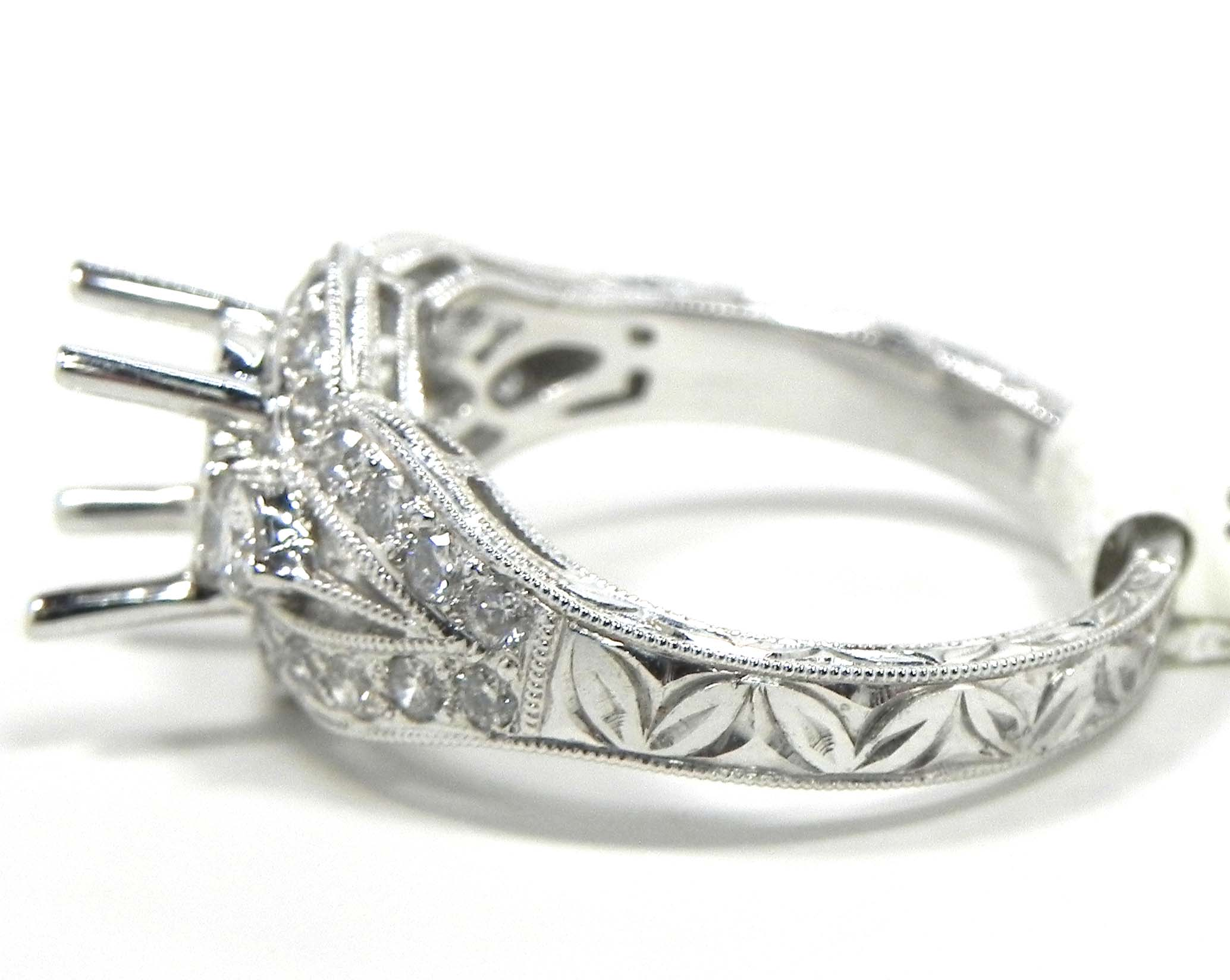 Ladies 18k White Gold Diamonds Engagement Semi Mount Ring