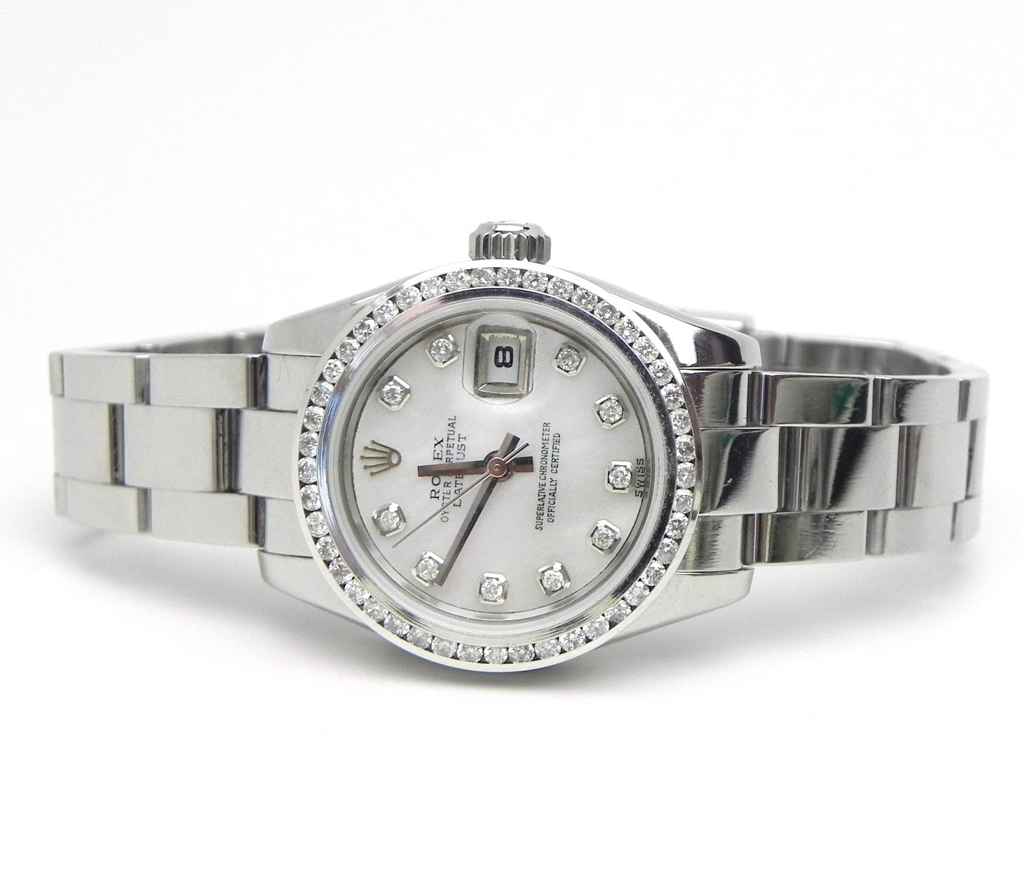 Ladies Rolex Ss Datejust 179160 Diamond Bezel Amp Mop