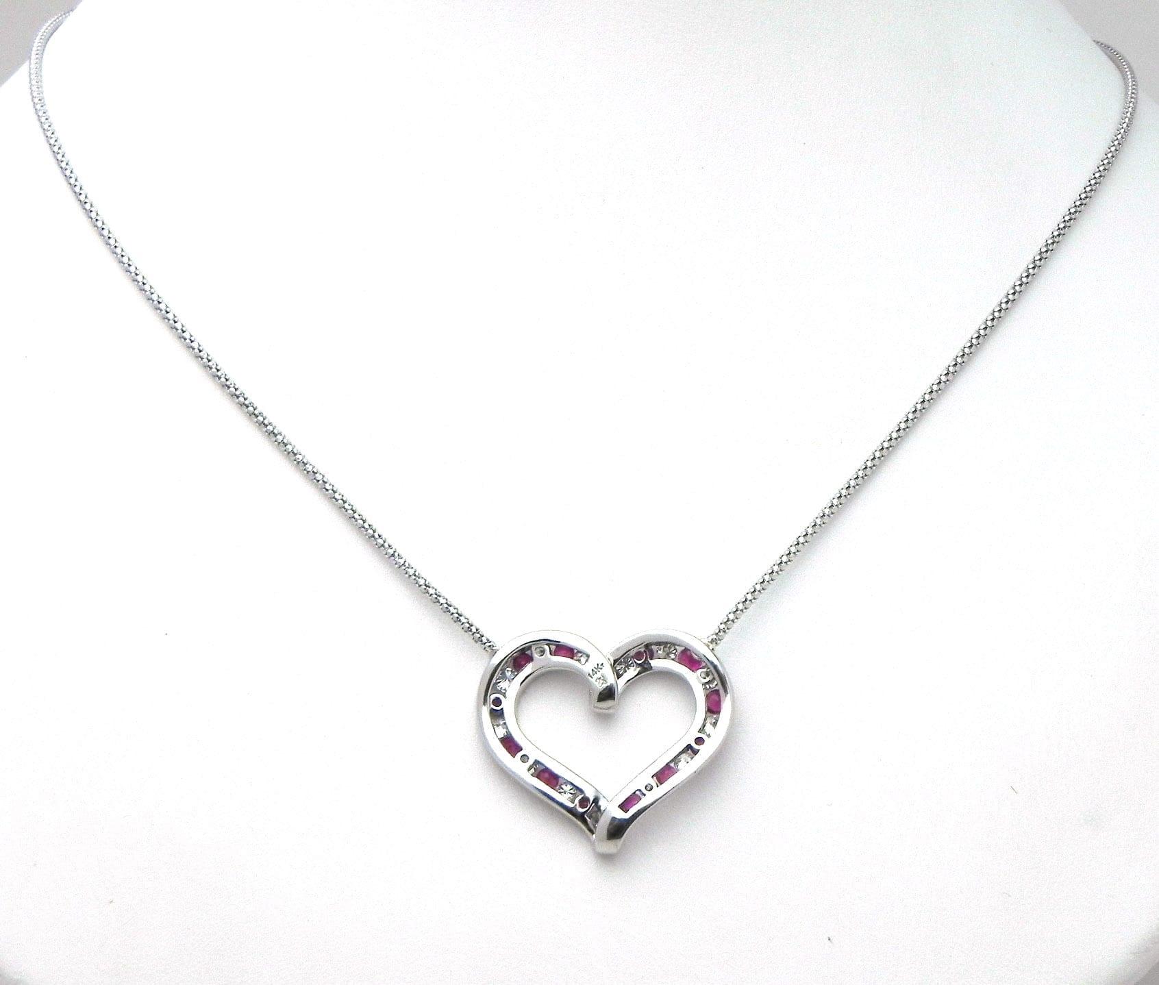 La s 14k White Gold Diamonds & Rubies Open Heart Necklace
