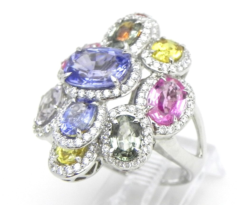 Ladies 18k White Gold 8 53 Cts Multi Colored Sapphire