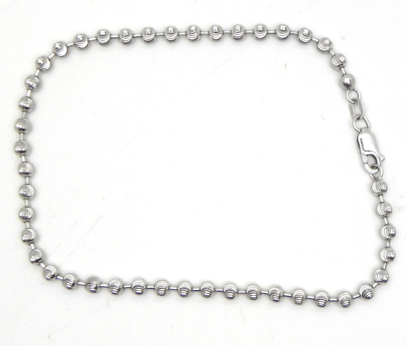 Ladies 14k White Gold Diamond Cut Beaded Anklet Bright