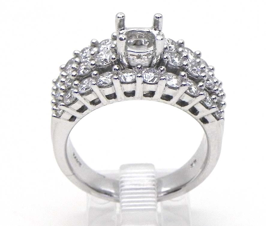 Ladies 14k White Gold 1.33 Cts. 3 Strand Diamond Semi-Mount Engagement Ring