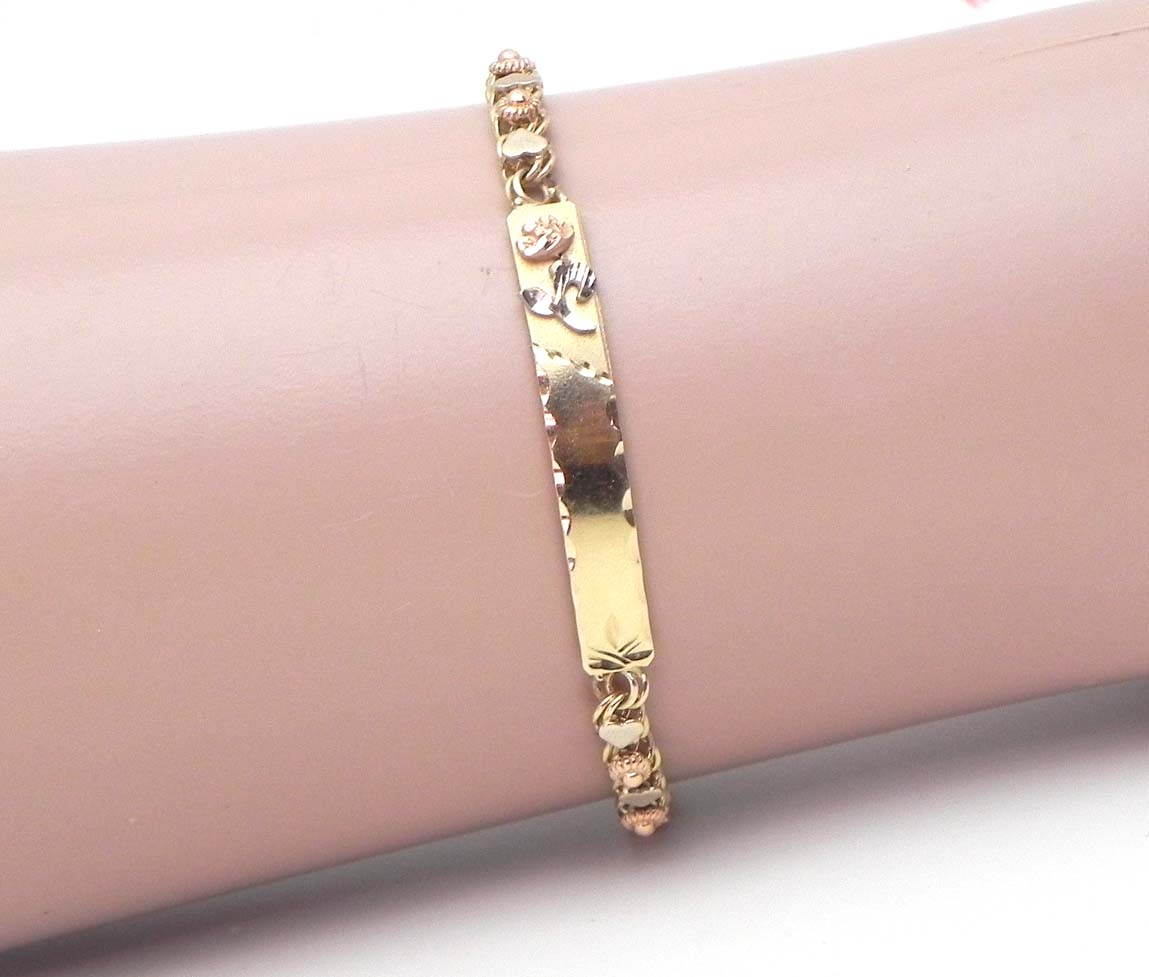 Little Girls 14k Tri-Tone Gold Hearts & Rose ID Bracelet - Bright Jewelers | Bright ...