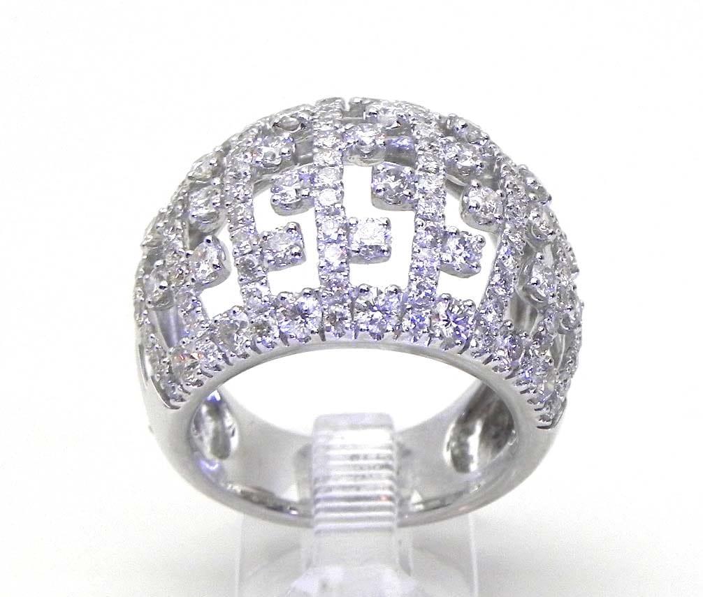 Ladies 18k White Gold 2 74 Cts Diamonds Open Dome Greek Key Style