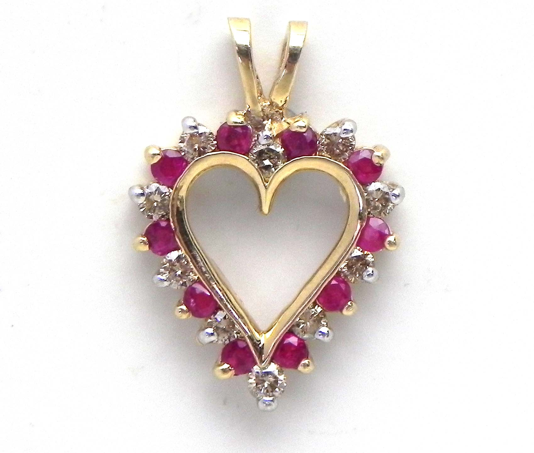 Ladies Yellow Gold Diamond Amp Ruby Open Heart Pendant