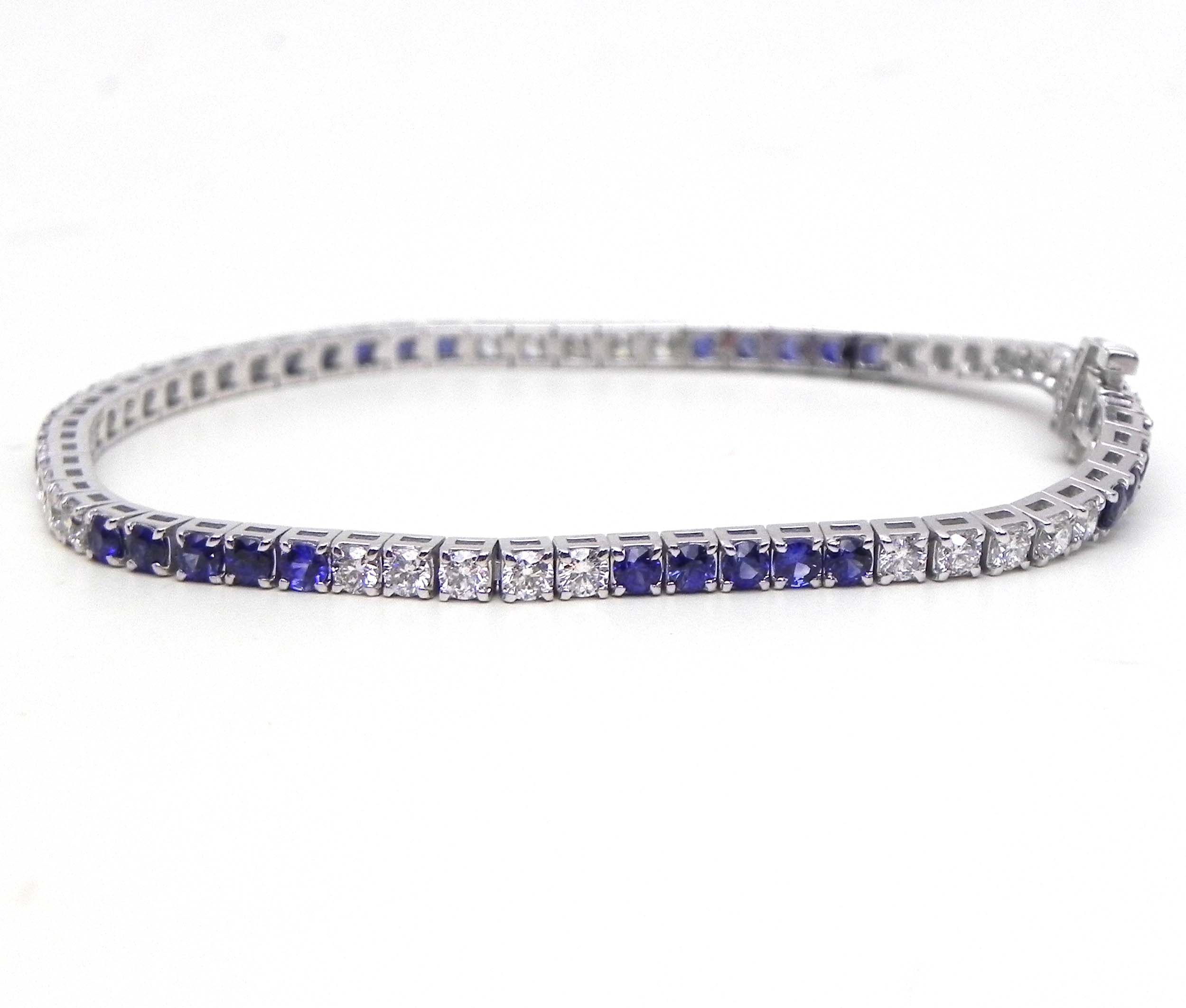 Ladies 14k White Gold Blue Sapphire Amp Diamonds Tennis