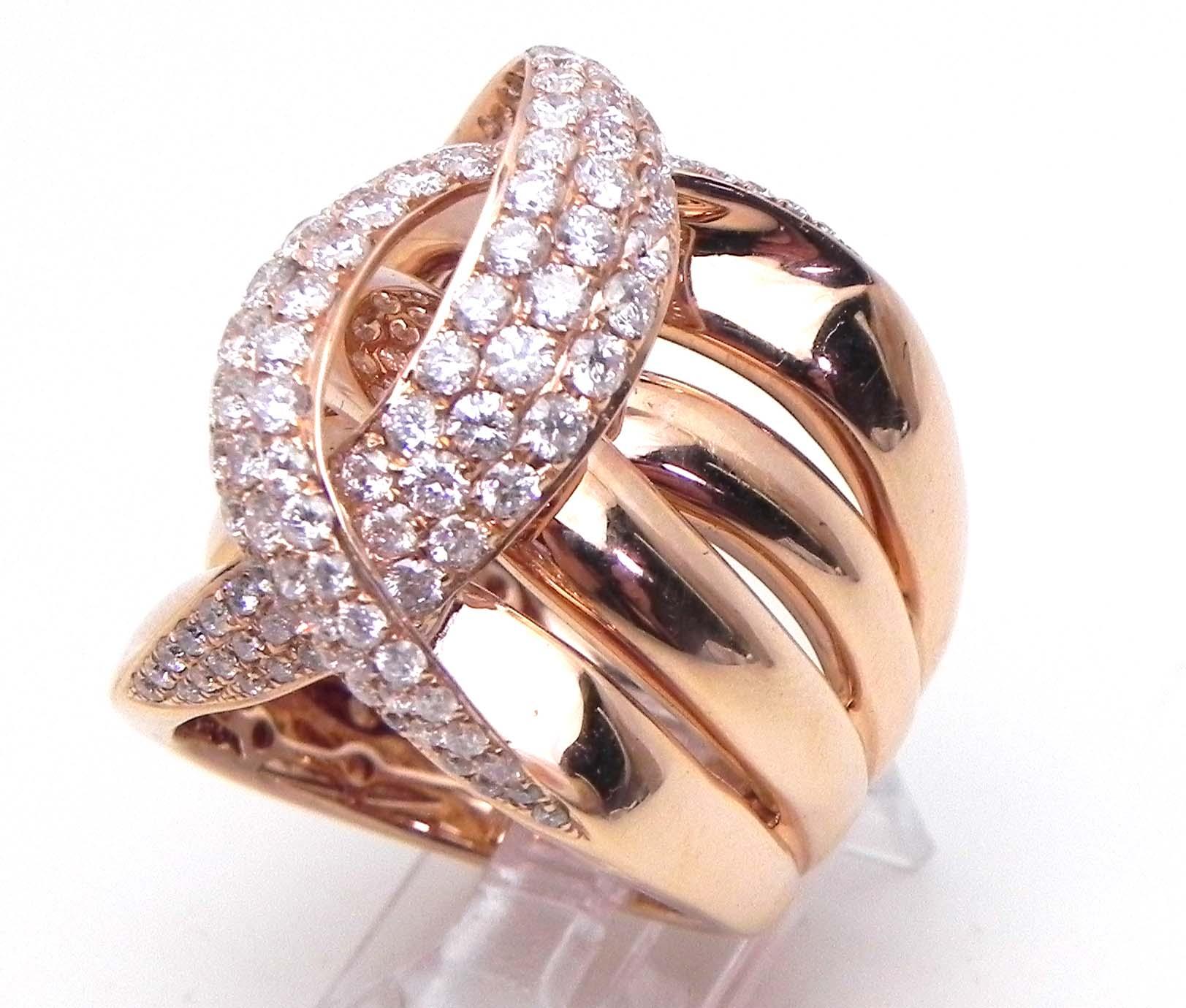 Ladies 14k Rose Gold 2 42 Cts Diamonds Crossing C Wide