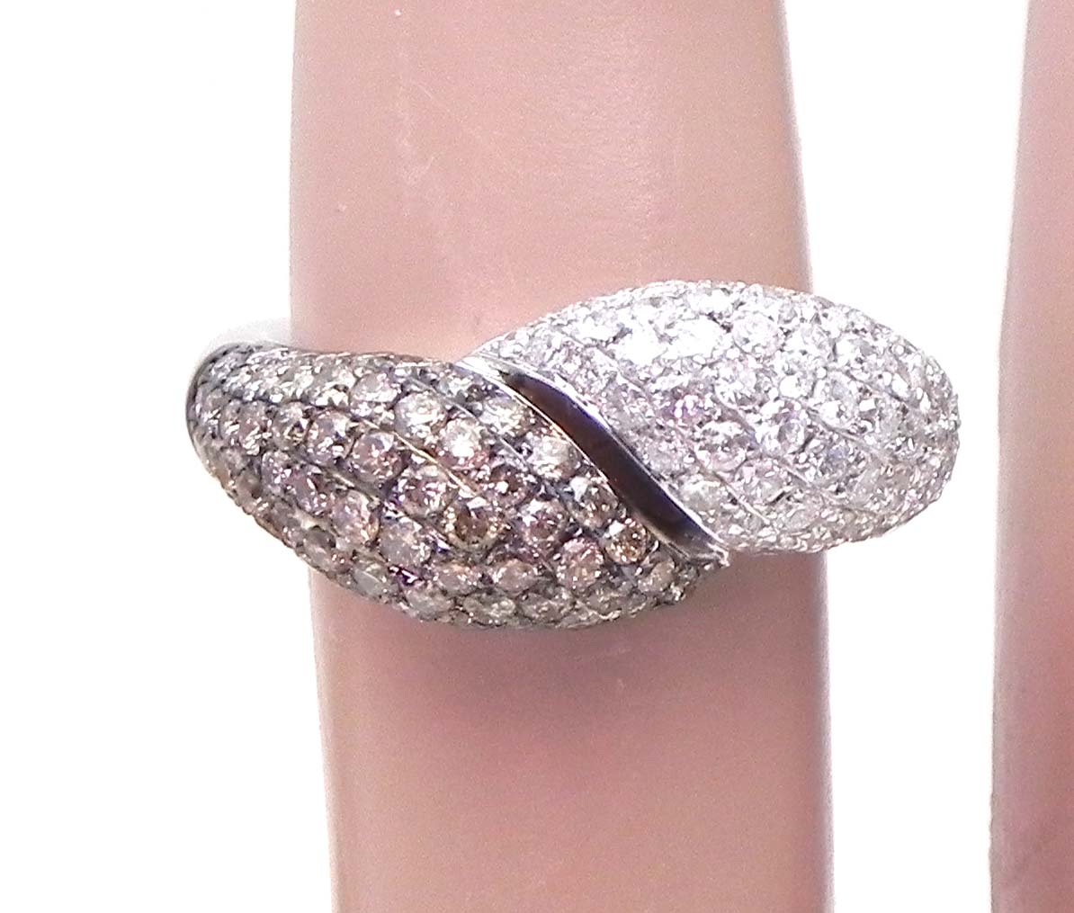 Ladies 14k White Gold 1.97 Cts. White & Champagne Diamonds Bypass ...