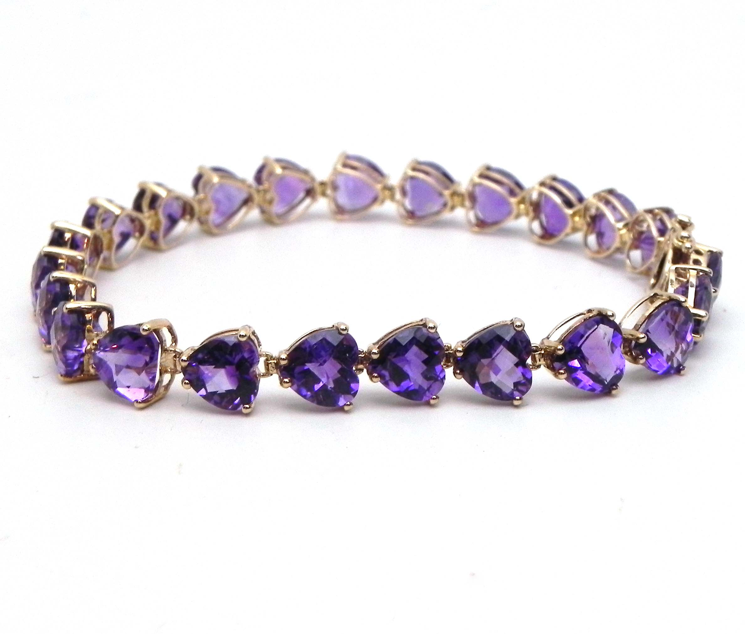 Ladies 14k Yellow Gold Amethyst Heart Link Bracelet