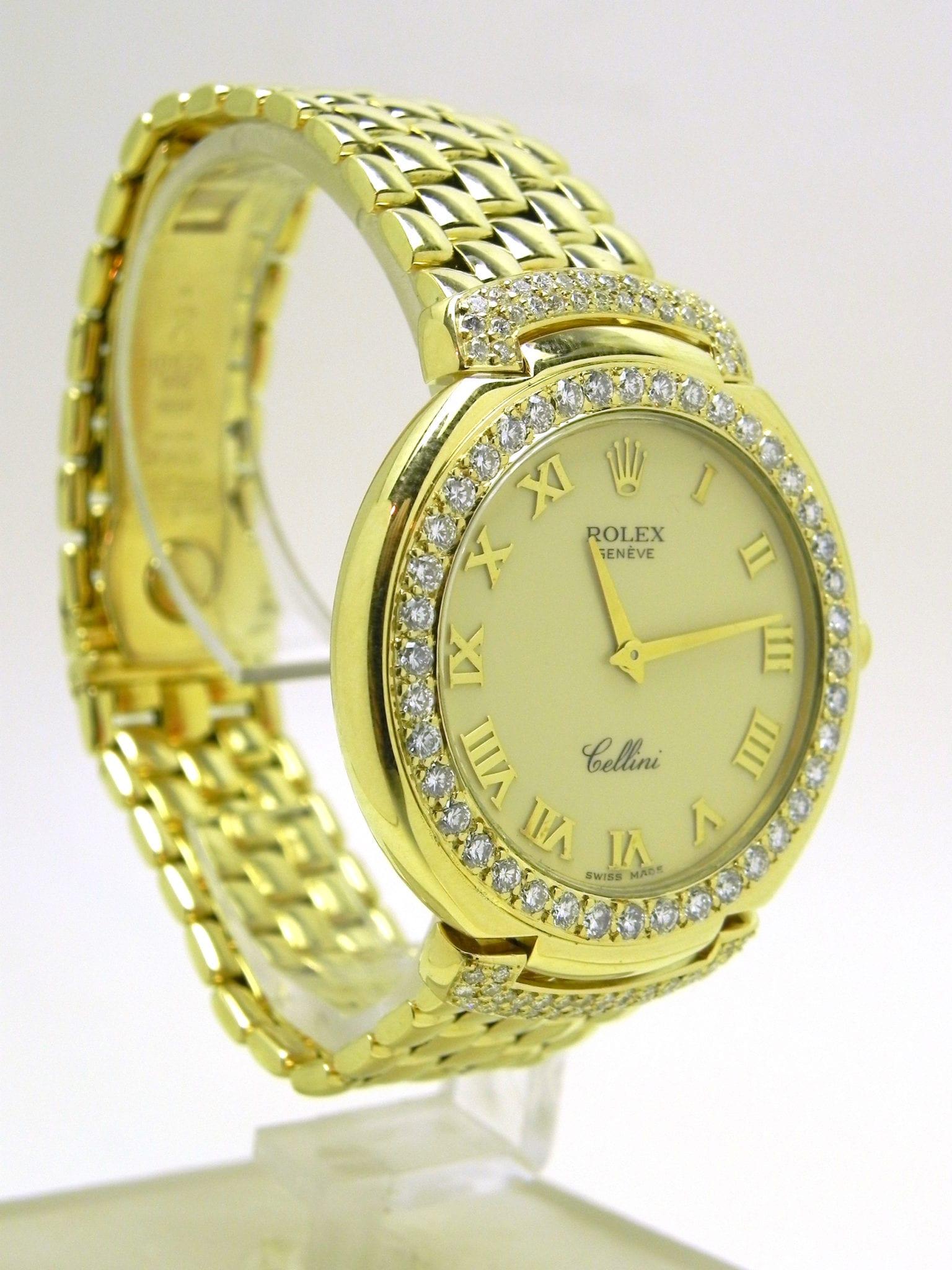 Gents Rolex Cellini Solid 18k Gold W Bracelet Wrist Watch